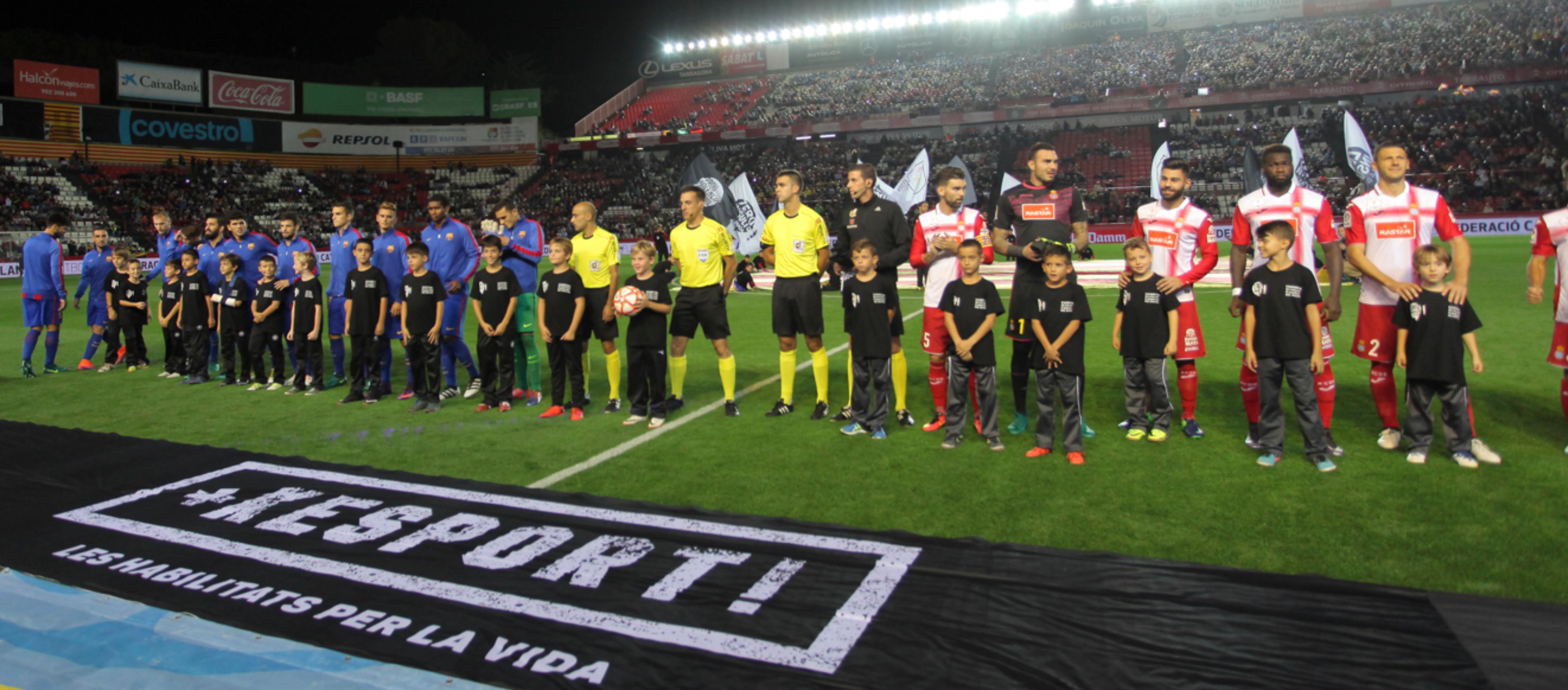 La campanya 'Gràcies pel vostre suport', present en la III Supercopa de Catalunya