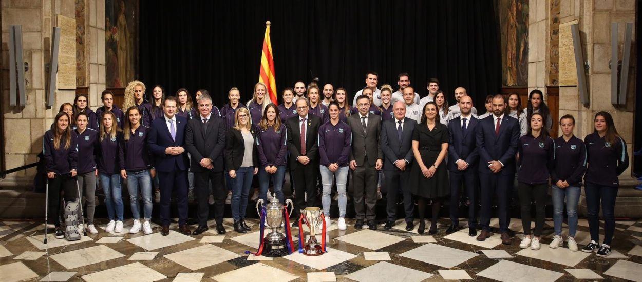 L'FCF, present a la recepció oficial del Barça Femení al Palau de la Generalitat
