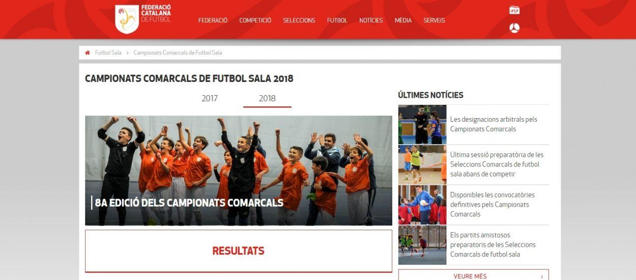 Seguiment dels resultats dels Campionats Comarcals de futbol sala