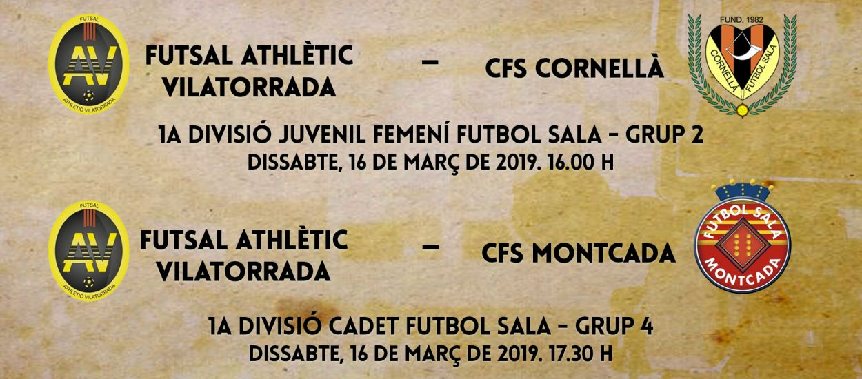 L'LCFS en directe: Futsal Athlètic Vilatorrada - CFS Cornellà i CFS Montcada