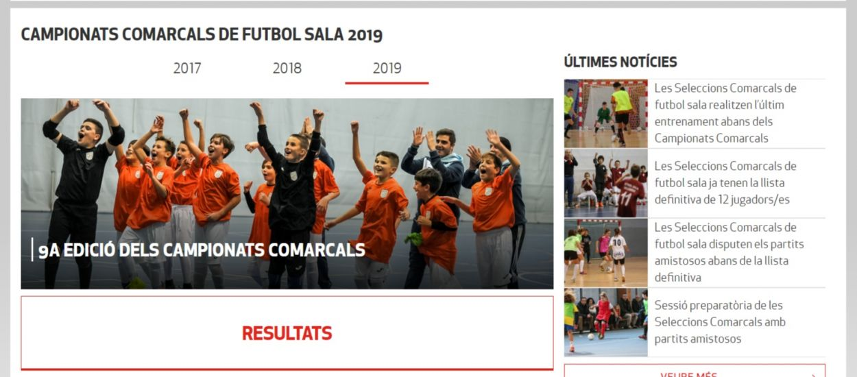 Los resultados de los Campeonatos Comarcales de fútbol sala disponibles en el apartado específico de la web federativa