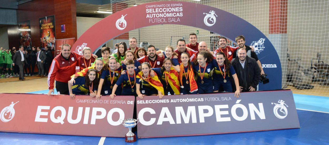 Exhibició de Catalunya sub 16 femenina de futbol sala que toca la glòria als Campionats d'Espanya