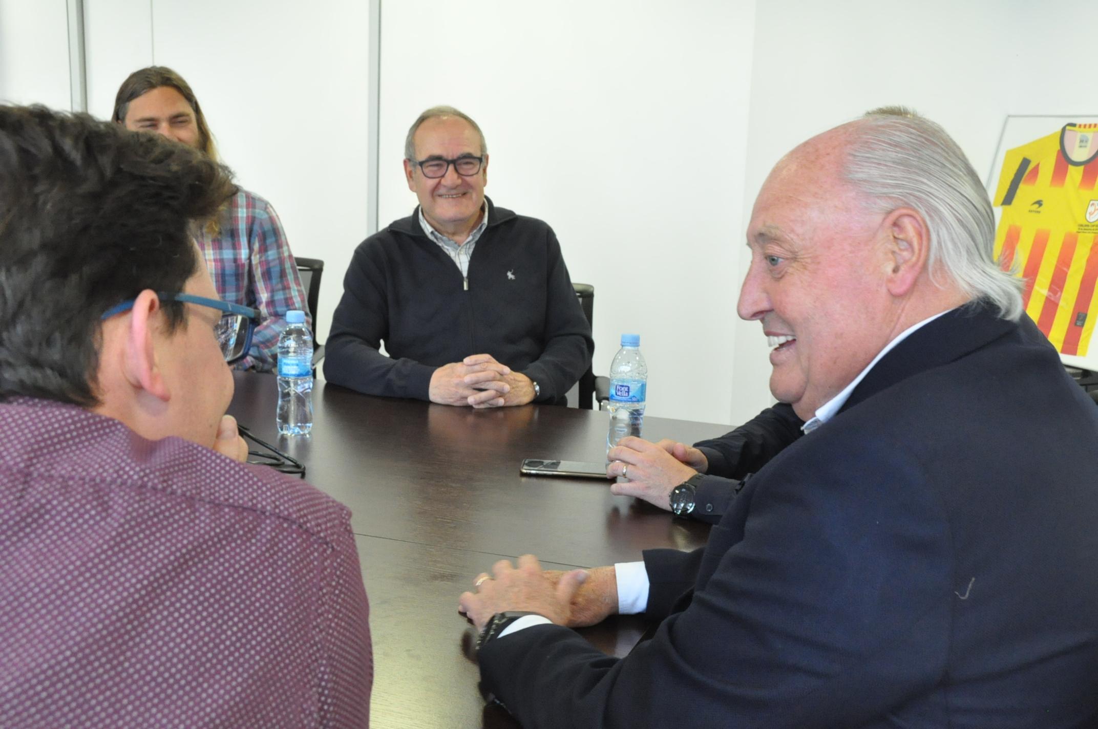 El president de l'FCF, Joan Soteras, en un moment de la reunió