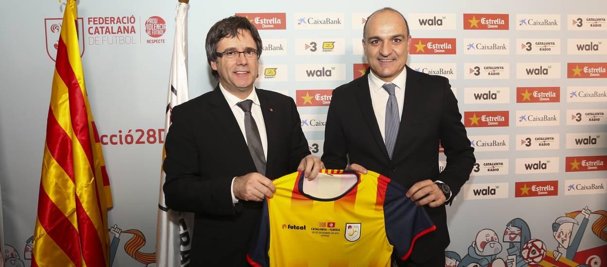 Ple d'autoritats en el partit de la Selecció Catalana Absoluta